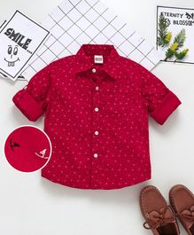 Babyhug Full Sleeve Shirt Allover Print - Red