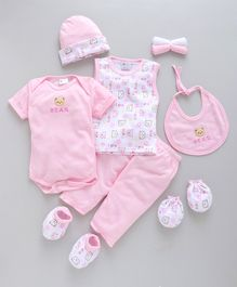 Montaly Clothing Gift Set Bear Embroidery Pink - 9 Pieces