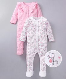 f9ff6f750 Babyoye Full Sleeves Footed Cotton Rompers stars & Kitten Print Pack of 2 -  White Pink