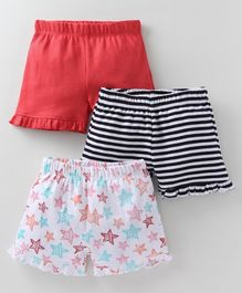 Babyoye Ruffled Solid, Striped & Printed Shorts Pack of 3 - Red