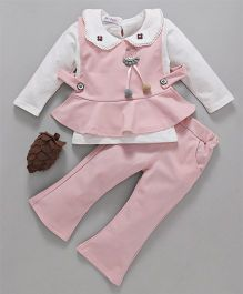 Kookie Kids Full Sleeves Inner With Top & Pant Set - Pink & White