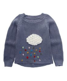 Pre Order - Awabox Rain Applique Full Sleeves Sweater - Grey