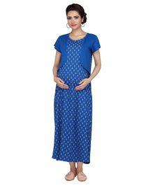 e07dfcd435fd6 Kriti Half Sleeves Maternity Nighty Floral Print - Dark Blue
