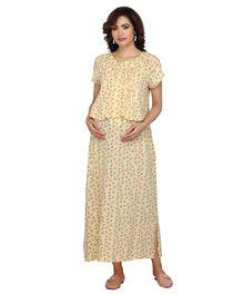 8ee998cbf81 Kriti Half Sleeves Maternity Nighty Floral Print - Light Yellow