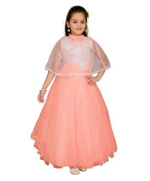 c5658d555 Aarika Gown With Flower Applique Half Sleeves Cape - Peach