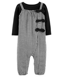Carter's 2-Piece Tee & Checkered Jumpsuit Set - Black