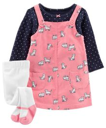 Carter's 3-Piece Polka Dot Tee & Cat Jumper Set - Pink