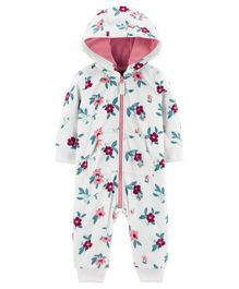 Carter's Hooded Floral Fleece Jumpsuit - White
