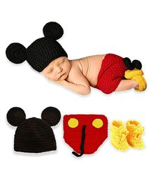 98c9d416e Bembika Newborn Lovely Knitted Chunky Cartoon Designer Photography Prop Red  - Pack of 3