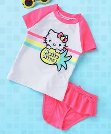 4cca7facc Fox Baby Half Sleeves Two Piece Swimsuit Hello Kitty Print - Pink & White