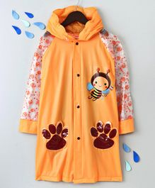 Full Sleeves Hooded Raincoat Bee Print - Orange