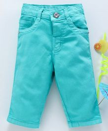 080565415076a Babyhug Solid Dyed Cotton Twill Capri Pant With Adjustable Elastic Waist -  Aqua Blue