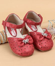 Cute Walk by Babyhug Belly Shoes Bow Motif - Light Red