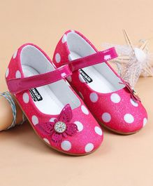 Cute Walk by Babyhug Party Wear Belly Shoes Polka Dot Print - Pink