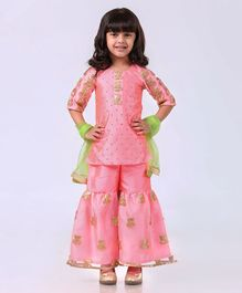 Saka Designs Half Sleeves Kurti And Gharara With Dupatta Lotus Applique - Pink Yellow