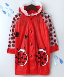 Raincoat With Hood Bug Print - Red