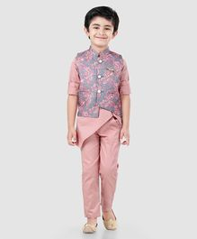 a7a602bbb4 Dapper Dudes Full Sleeves Kurta With Flower Print Jacket & Pajama Set -  Peach