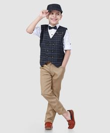 835bff22f5f6d Dapper Dudes Full Sleeves Polka Dot Print 3 Piece Checked Party Suit With  Cap - Blue