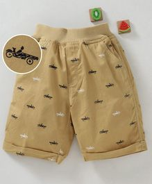 Olio Kids Shorts Car Print - Beige