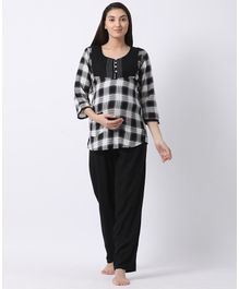 b773b368426 Goldstroms Three Fourth Plaid Pattern Feeding   Nursing Top And Pyjama Set  - Black