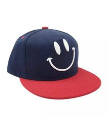 a9499a451d200 Ziory Smiley Embroidered Cotton Summer Cap - Red Blue