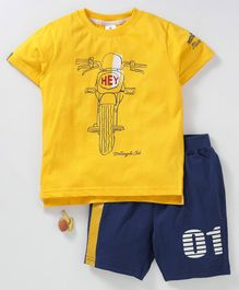 963f2b33f Ollypop Half Sleeves Tee With Shorts Motorcycle Print - Yellow