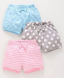Babyoye Cotton Shorts Pack Of 3 Stripe Dots & Kitty Print - Pink Grey Blue