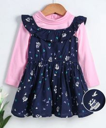 Babyhug Flutter Sleeves Frock With Inner Tee Bird Print - Pink Navy Blue
