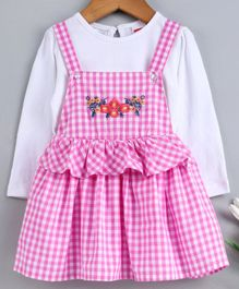 Babyhug Checks & Floral Embroidered Dungaree Style Frock With Inner Tee - Pink White