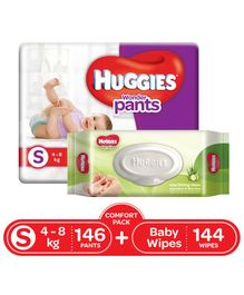 Huggies Wonder Pants Diapers Small Size Combo Pack - 146 Pieces & Huggies Baby Wipes Cucumber & Aloe Vera - 144 Pieces