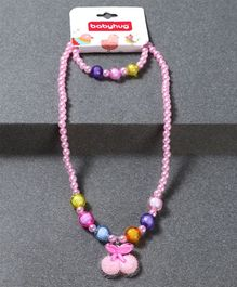 Babyhug Bracelet And Necklace Cherry Motif - Light Pink