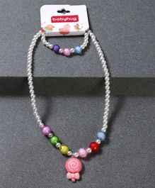 Babyhug Bracelet And Necklace Floral Motif - White