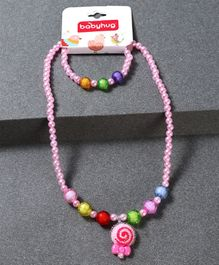 Babyhug Bracelet And Necklace Floral Motif - Light Pink