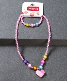 Babyhug Necklace And Bracelet Heart Motif - Light Pink