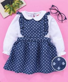 Babyhug Frock With Full Sleeves Inner Tee Floral Print - Blue