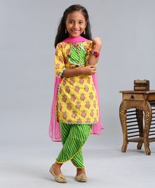 Pspeaches Flower Print Three Fourth Sleeves Kurta With Dupatta & Dhoti Set - Yellow & Green