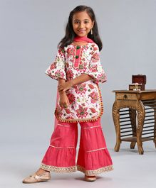 Pspeaches Flower Print Half Sleeves Kurta With Dupatta & Sharara Set - Pink