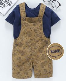 Babyhug Dungaree With Inner Tee Roar Print - Blue Brown