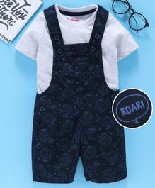 Babyhug Dungaree With Inner Tee Roar Print - Blue Grey