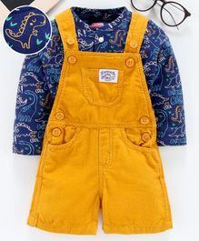 Babyhug Dungaree With Full Sleeves Multi Print Tee - Blue Yellow