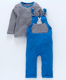 Babyoye Dungaree With Striped Full Sleeves Inner Tee Bunny Patch - Royal Blue