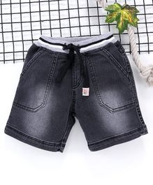 Babyhug Ribbed Shorts With Drawstring - Charcoal Black