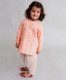 Tiber Taber Peacock Embroidered Full Sleeves Kurta & Dhoti Set - Peach