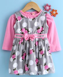 Dew Drops Polka Dot Frock With Full Sleeves Inner Tee Bow Applique - Pink Grey