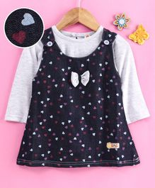 Dew Drops Frock With Full Sleeves Inner Tee Bow Applique - Grey Blue