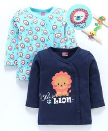 Babyhug 100% Cotton Full Sleeves Vest Pack of 2 Lion Print - Sea Green Blue