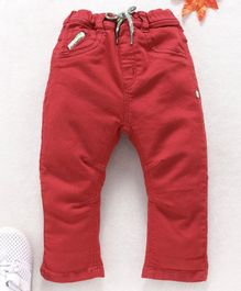 Little Kangaroos Full Length Jeans With Drawstring - Red