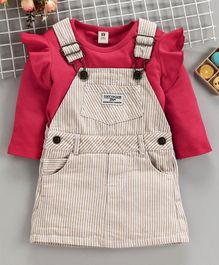 ToffyHouse Dungaree Style Frock With Inner Tee - Pink Cream