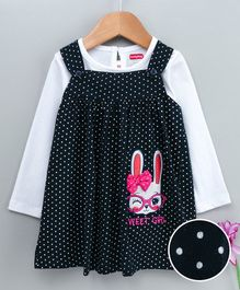 Babyhug Dungaree Style Frock With Full Sleeves Inner Tee  Bunny Patch - Navy Blue