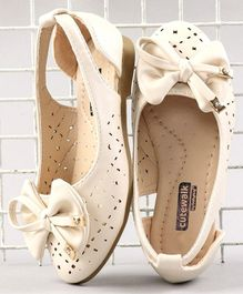Cute Walk by Babyhug Party Wear Belly Shoes Bow Appliques - Cream